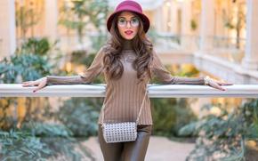 Picture look, model, hat, glasses, handbag, cutie, Karina