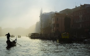 Picture city, twilight, sea, Italy, sunset, water, evening, fog, man, houses, Venice, buildings, boat, Italia, Venice, …