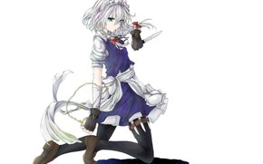 Picture watch, shadow, white background, gloves, braids, bows, knives, blue eyes, the maid, art, on my …
