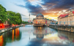 Picture the sky, trees, sunset, river, tower, home, Germany, channel, bridges, Palace, Berlin, The Bode Museum, …