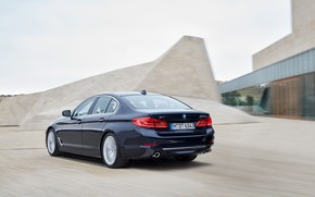 Picture BMW, back, architecture, sedan, side view, xDrive, 530d, Luxury Line, 5, dark blue, four-door, 2017, …