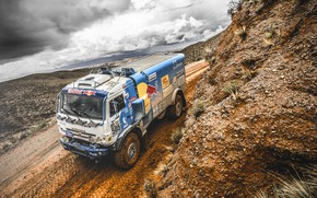 Picture The sky, Sand, Nature, Sport, Speed, Clouds, Truck, Race, Master, Beauty, Russia, Beast, Kamaz, Rally, …