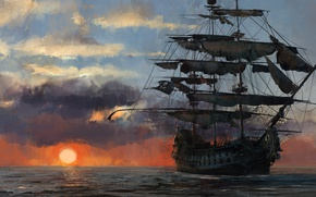 Picture game, pirate, sunset, pirate ship, flag, ship, pirate flag, kaizoku, Skull and Bones
