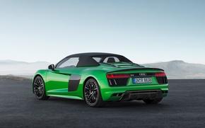 Picture car, Audi, green, logo, Audi R8, Audi R8 Spyder, Audi R8 Spyder V10, Audi R8 …