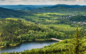 Picture greens, the sun, trees, mountains, bridge, river, field, home, Czech Republic, panorama, forest