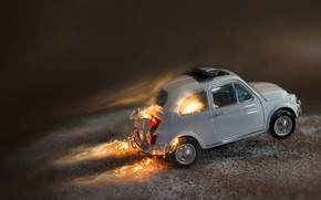 Picture fire, Fiat 500, model, toy, macro, machine
