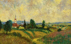 Picture landscape, picture, Church, Georges d'espagnat, Harvest