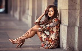 Wallpaper street, makeup, bokeh, beauty, legs, brown hair, boots, pose, portrait, dress, model, Lods Franck, sitting, ...