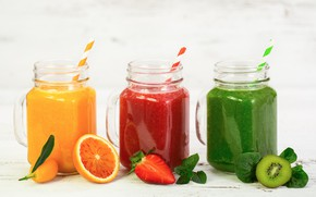 Picture orange, kiwi, strawberry, drinks, mint, smoothies, spinach