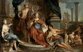 Picture oil, picture, canvas, Allegory, The Dutch East India Company, The Amsterdam Chamber, Nicholas Verkolje