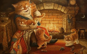 Picture cat, figure, tale, the evening, art, kittens, fireplace, children's, Tales of the cat Kuzma, Alexander …