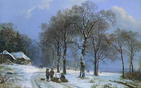 Wallpaper canvas, Winter Landscape, oil, picture, Barend Cornelis Koekkoek