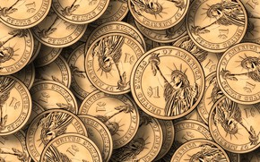Picture golden, gold, statue of liberty, coins