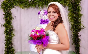 Picture smile, Girl, bouquet, the bride