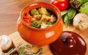 Picture mushrooms, vegetables, pot, hot