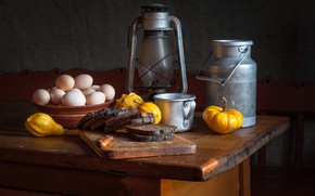 Picture eggs, bread, mug, pumpkin, still life, cans