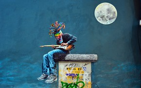 Wallpaper wall, graffiti, figure