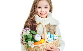 Picture flowers, smile, basket, hair, child, eggs, Easter, girl, Flowers, smile, sweater, Easter, basket, alstremeria, Little …