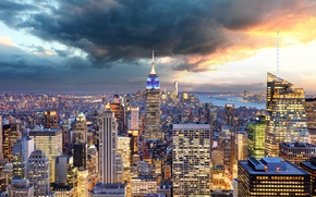 Wallpaper the sky, clouds, bridge, lights, home, New York, skyscrapers, panorama, Bay, USA, Manhattan, megapolis