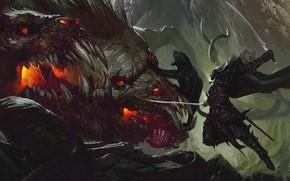 Picture cat, Panther, warrior, monster, swords, Cerberus, warrior, dark elf, Guenhwyvar, Drizzt Do'urden, Forgotten Realms