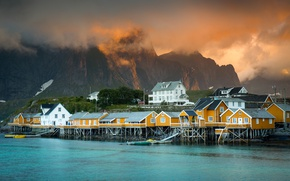 Wallpaper mountains, the city, home, Norway, settlement, the fjord