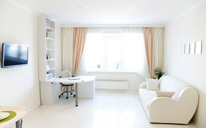 Picture design, table, room, sofa, pillow, TV, window, chair, curtains, curtains, living room, shelves
