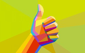Picture finger, gesture, fist, low poly, all is well