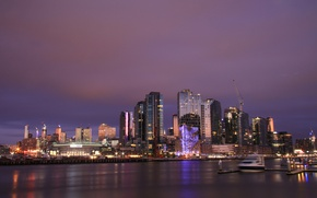 Picture night, lights, home, Australia, harbour, Melbourne