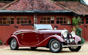 Picture convertible, retro, coupe, luxury, 1934, red old car, Bentley Drophead