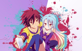 Picture anime, No Game No Life, guy, art, two, girl
