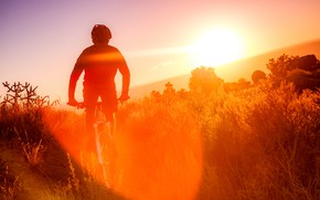 Wallpaper athlete, cyclist, Sandia mountains bike, morning, nature
