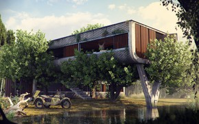 Wallpaper vegetation, construction, motorcycle, The Outpost, pond