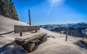 Picture the sun, snow, mountains, bench, Austria, Tyrol, Ellmau, Weissach dig
