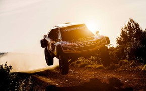 Picture Sunset, The sun, Sport, Speed, Race, Dirt, Peugeot, Lights, Red Bull, Rally, Rally, Sport, DKR, …