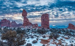 Picture winter, snow, nature, rocks, Utah, USA, Arches National Park, Archez