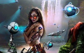 Picture look, girl, fiction, robot, art, glasses, beauty, cyborg, prosthesis