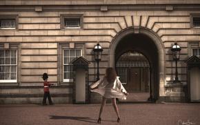 Wallpaper soldiers, girl, street