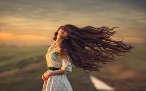 Wallpaper girl, mood, the wind, hair, dress, Monica Lazar