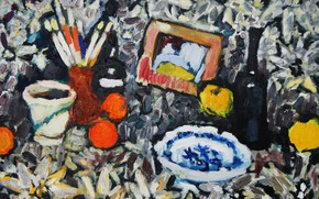 Picture wine, apples, plate, still life, brush, 2013, The petyaev