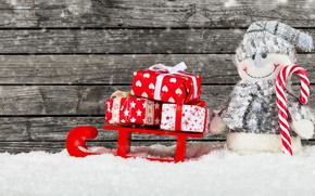 Picture winter, snow, decoration, New Year, Christmas, gifts, snowman, happy, Christmas, wood, winter, snow, New Year, …