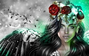 Picture girl, roses, wings, angel, wreath