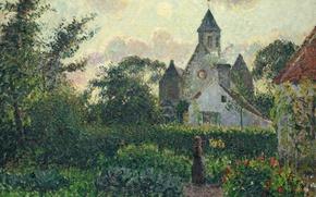 Picture landscape, picture, garden, Camille Pissarro, The Church in Knokke