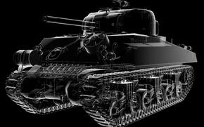 Picture design, mechanism, details, American, Sherman, medium tank, main