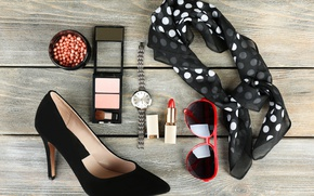 Wallpaper accessories, solitaire, glasses, watch, cosmetics, style