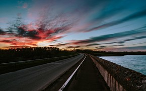 Picture road, the sky, clouds, sunset