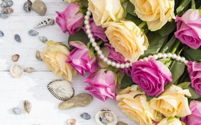 Picture flowers, bouquet, shell, beads, Roses, buds, wooden background