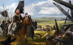 Picture weapons, horse, army, armor, flag, warrior, hike, Stroy, squad, banner, Viking