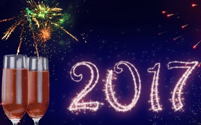 Wallpaper New Year, glasses, new year, happy, 2017
