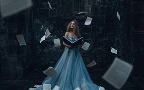 Picture girl, dress, book, page, Bird Man, The Storyteller