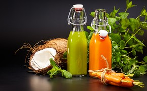 Picture greens, coconut, juice, carrots